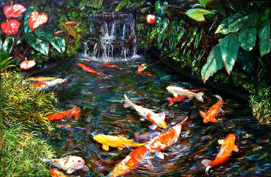Paintings glorialana 39 s blog for Cool koi ponds